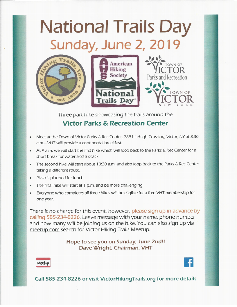 Celebrate National Trails Day® in Victor, NY SUNDAY June 2nd