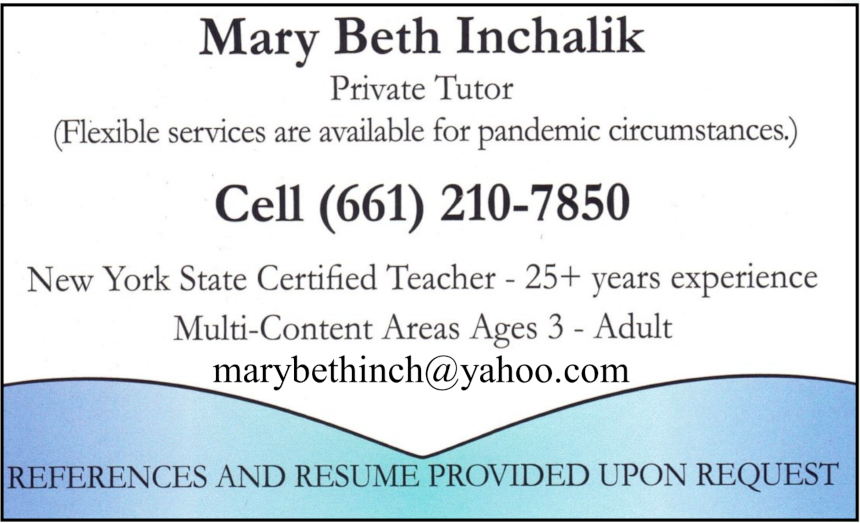 Mary Beth Inchalik, Private Tutor